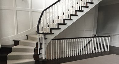 white stair runner