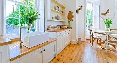 wood flooring in airy kitchen