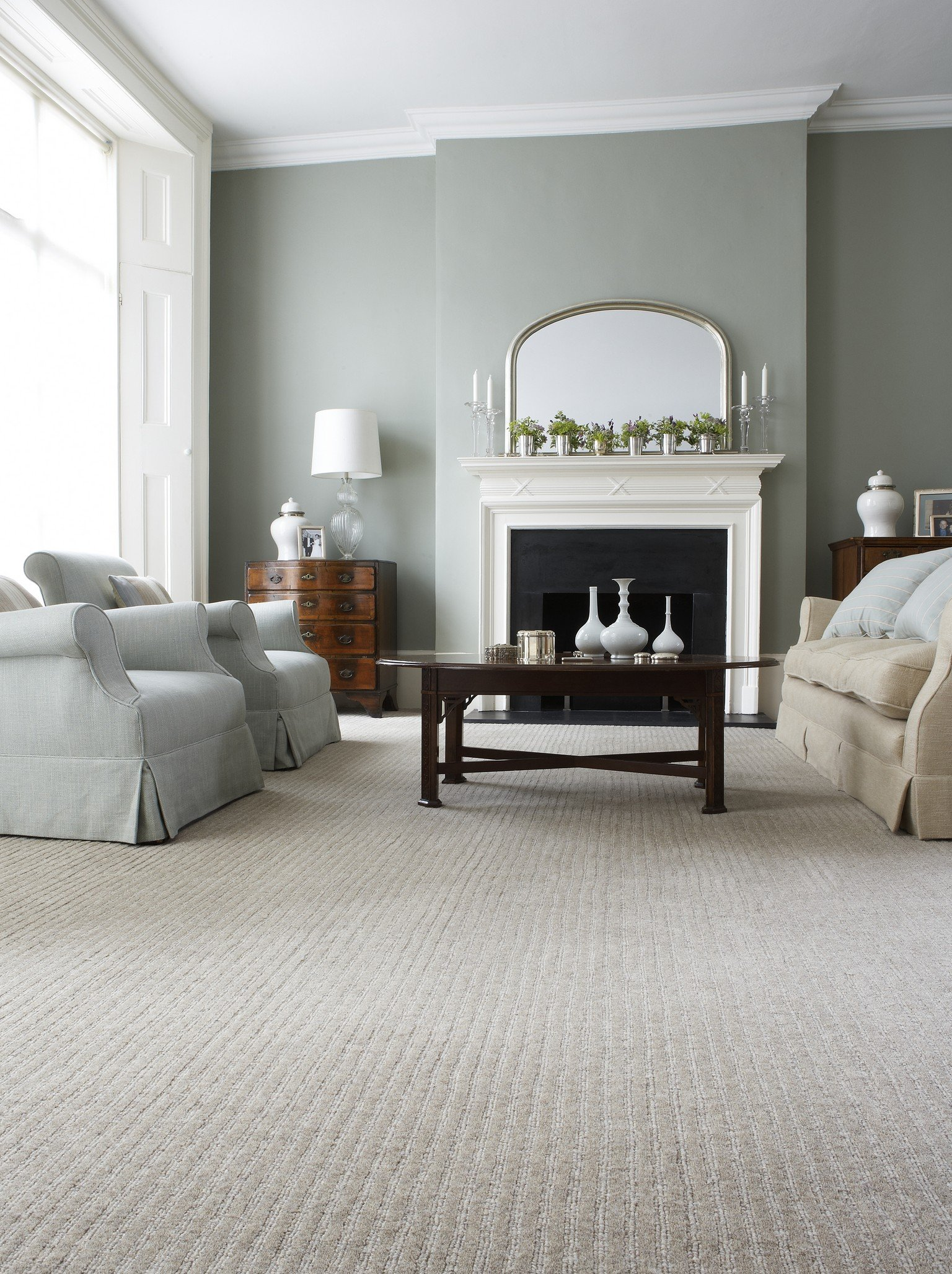 luxury carpet in ivory with two sofas