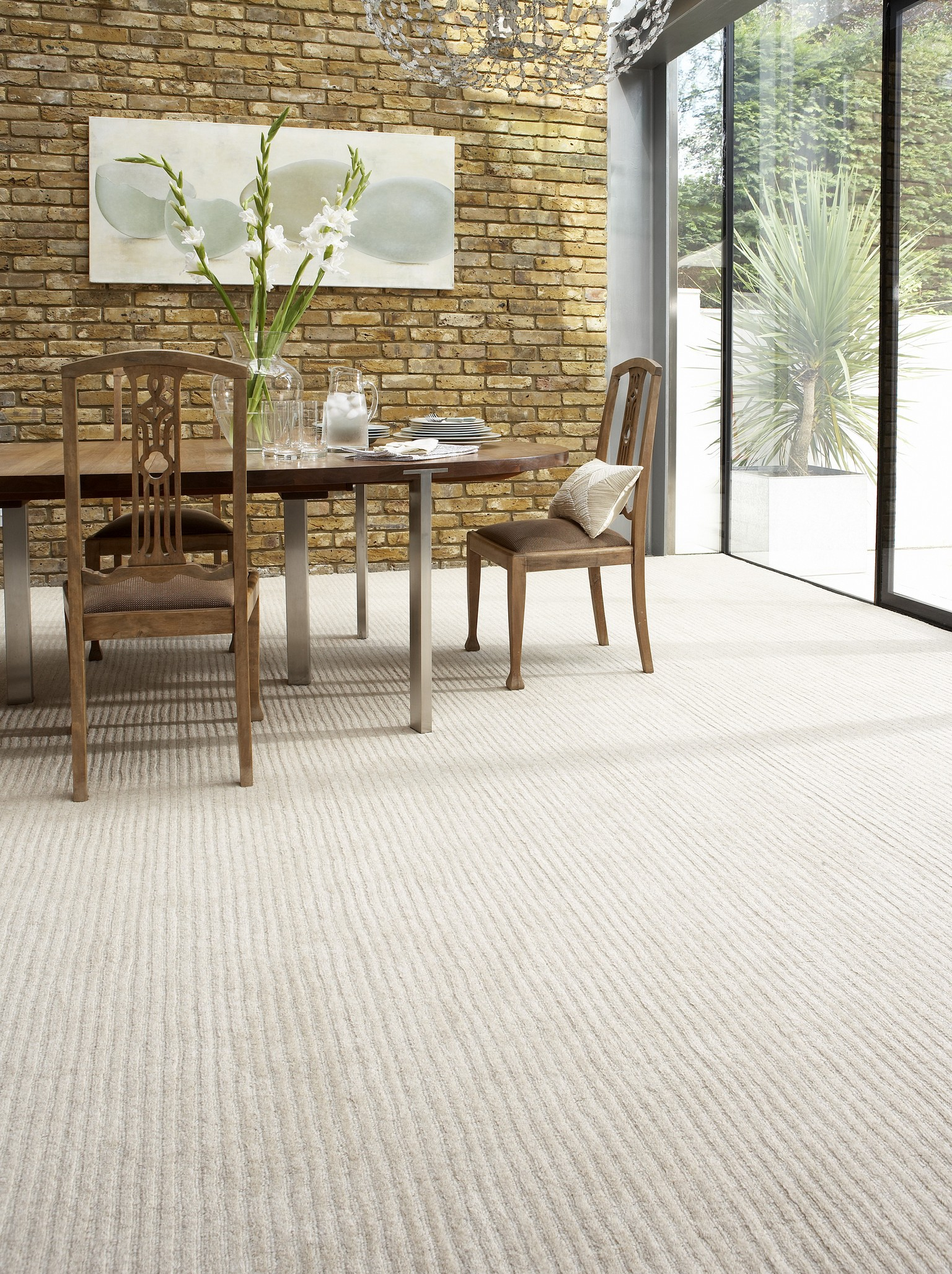 ribbed wool luxury carpet in dining room