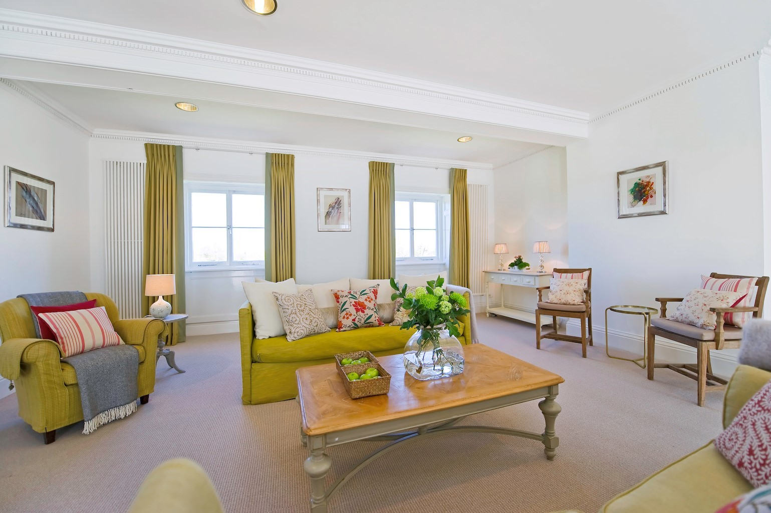 luxury carpet in cream and green living room