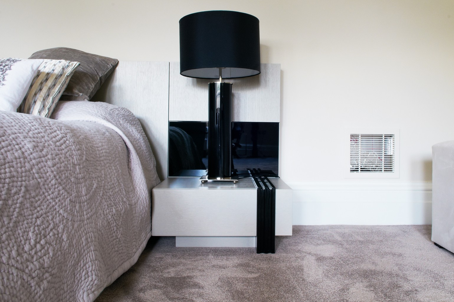 grey luxury and bedside table