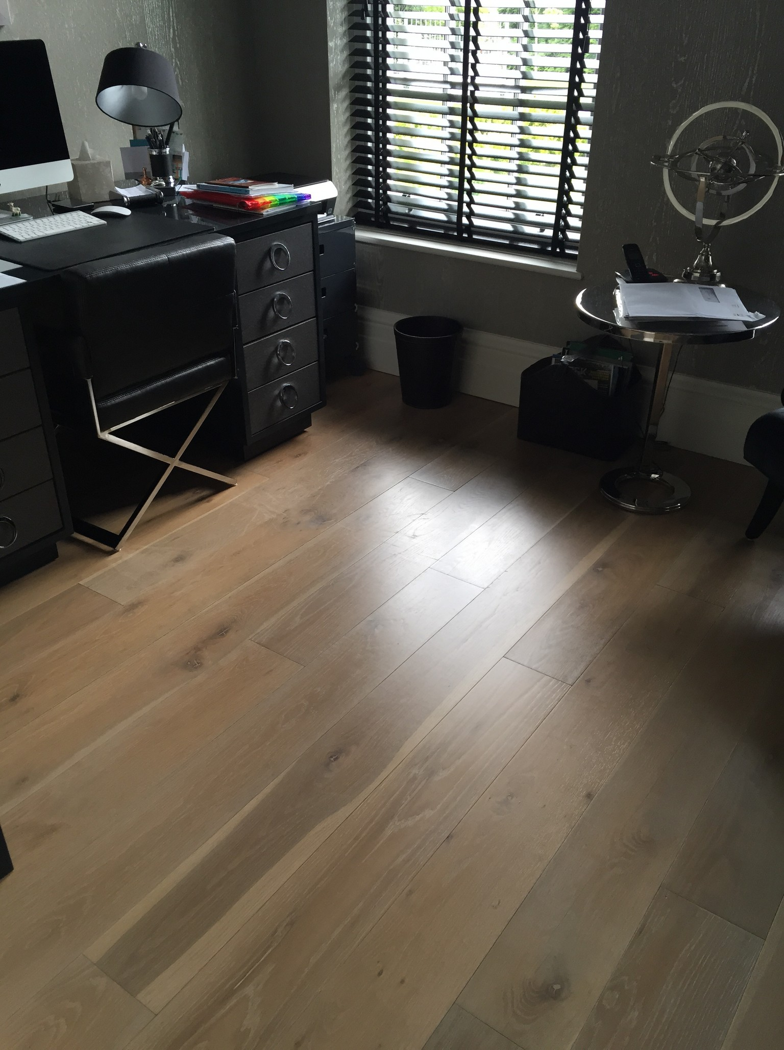 smoked engineered wood flooring in home office