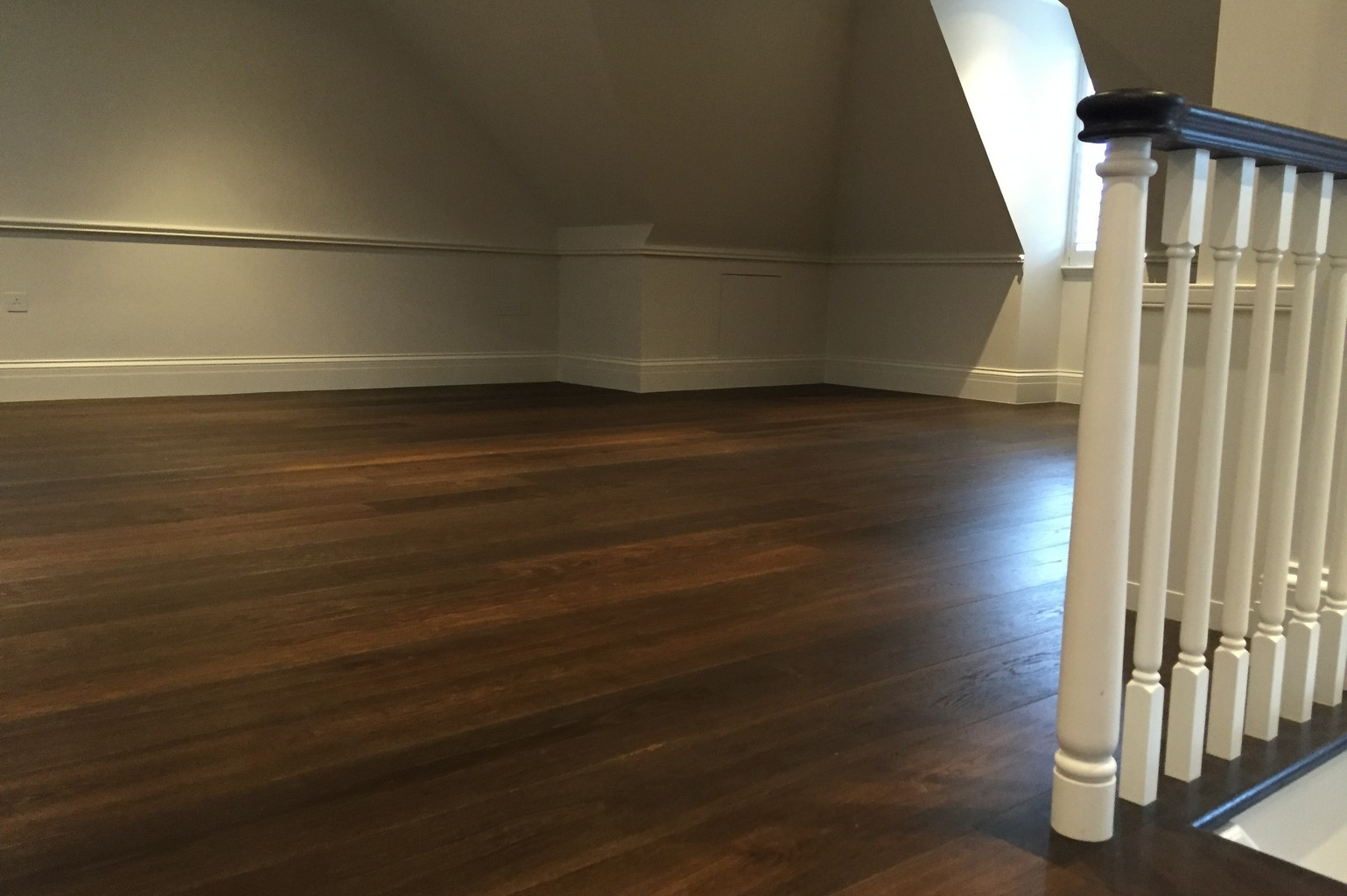 luxury wood flooring and bannister