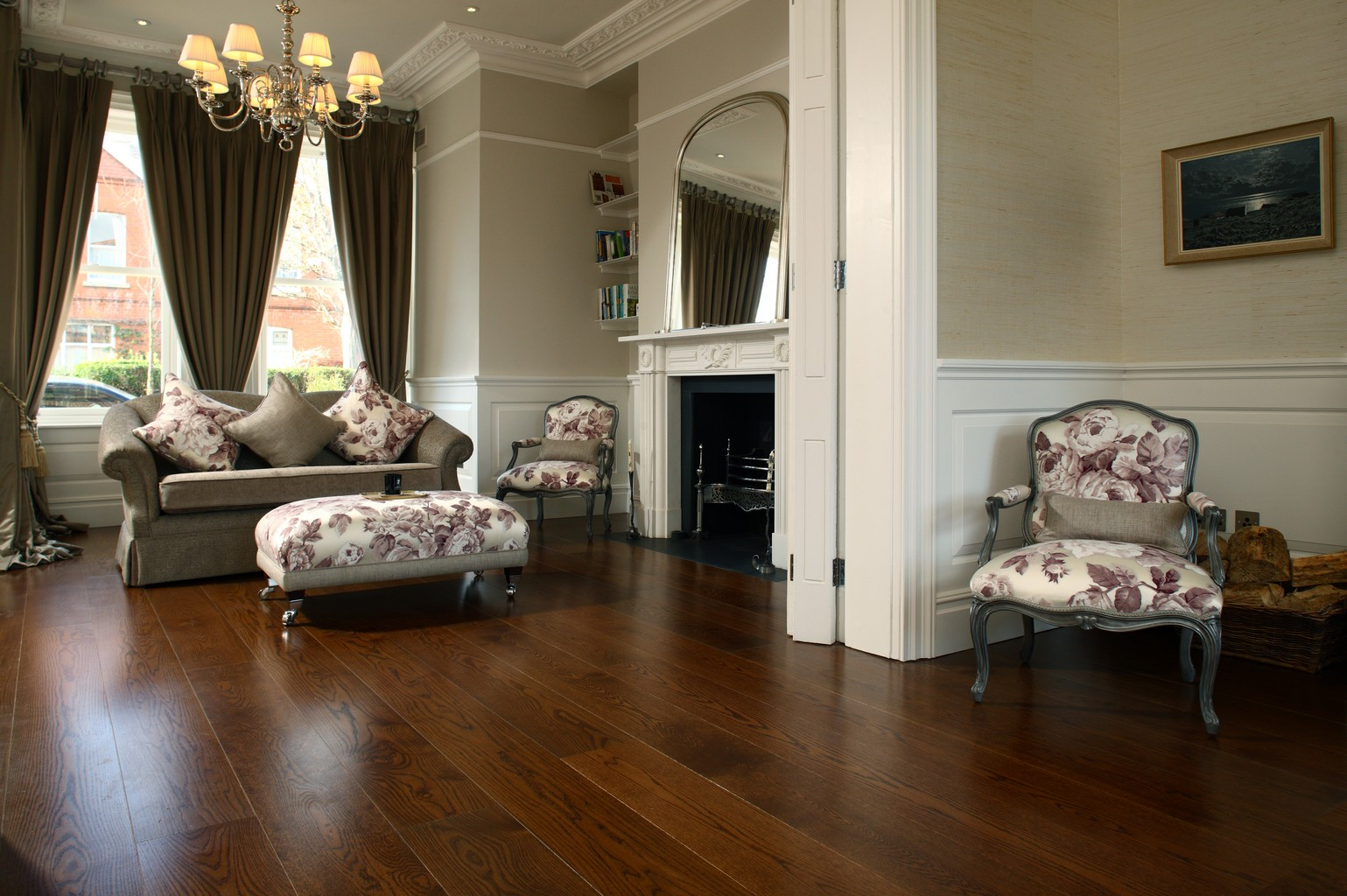 luxury wood flooring in traditional lounge