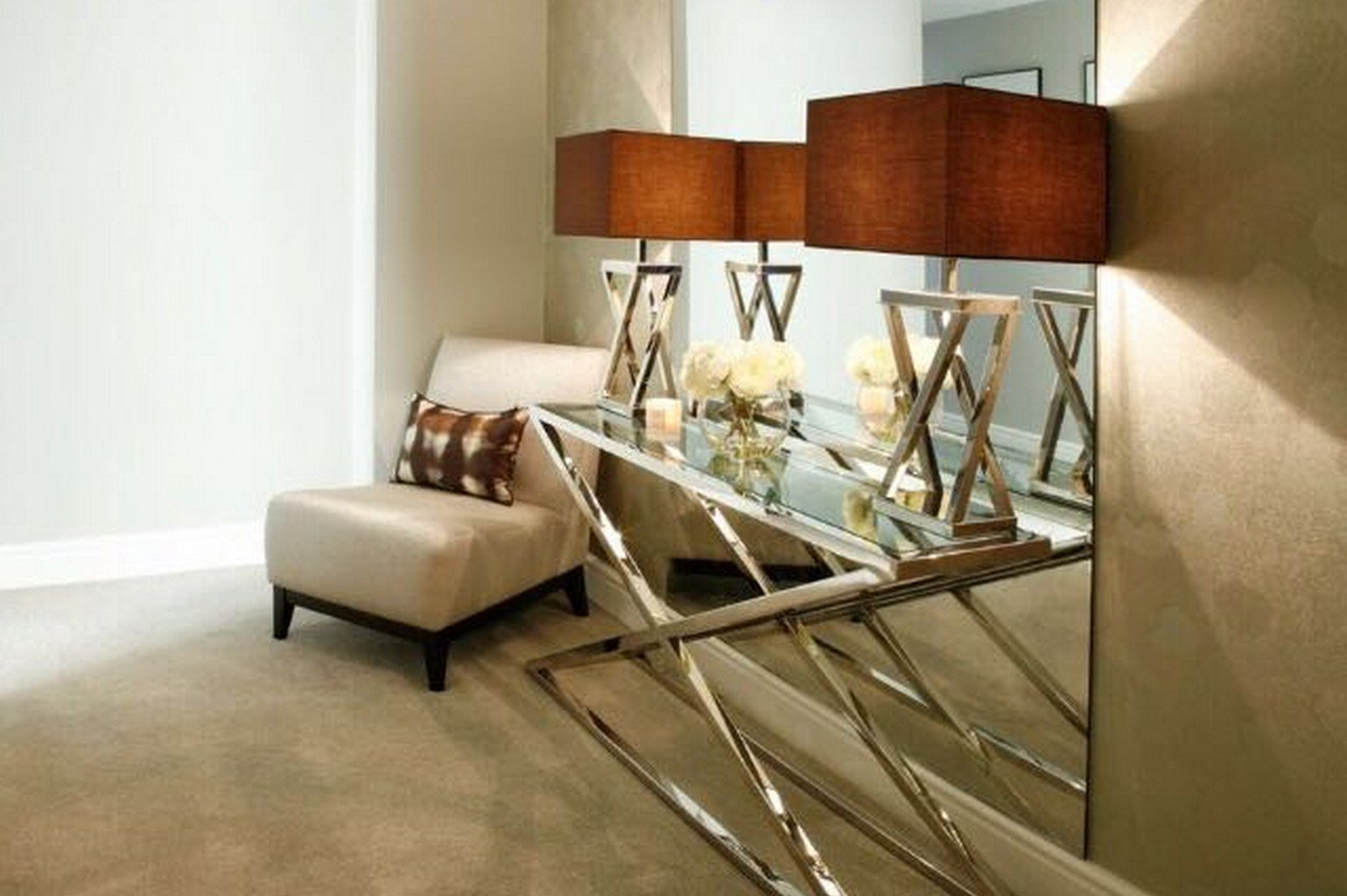 luxury carpet and glass chrome side table