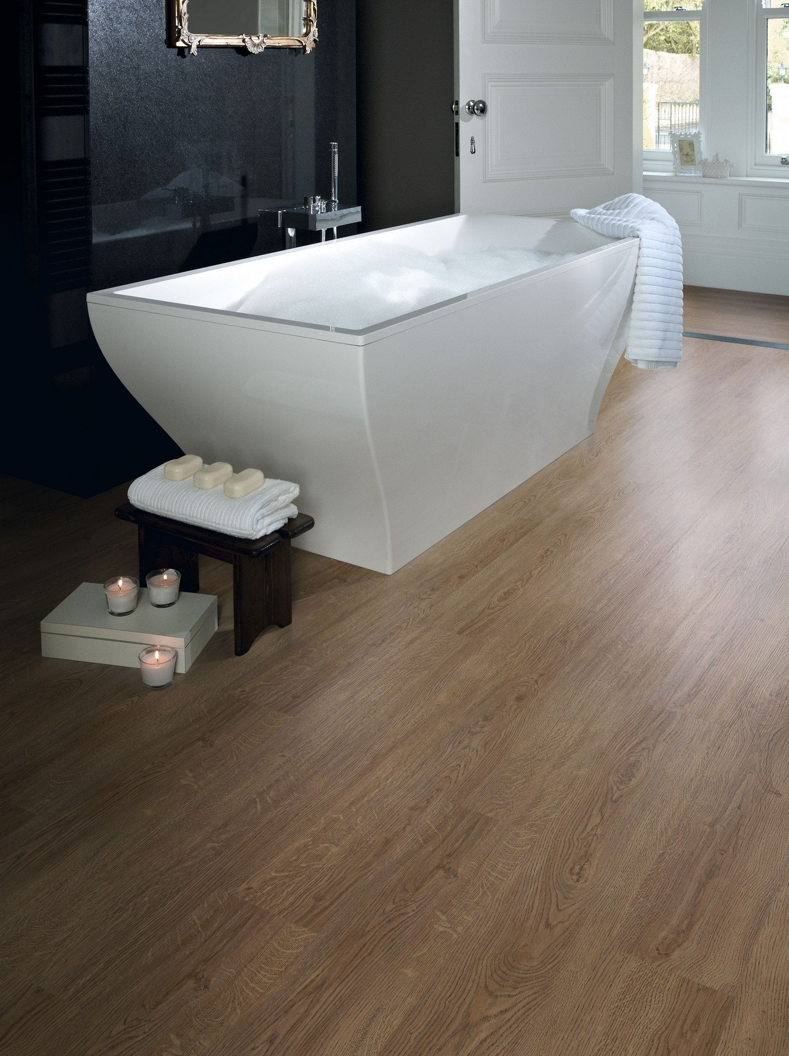 luxury vinyl amtico flooring under bathtub