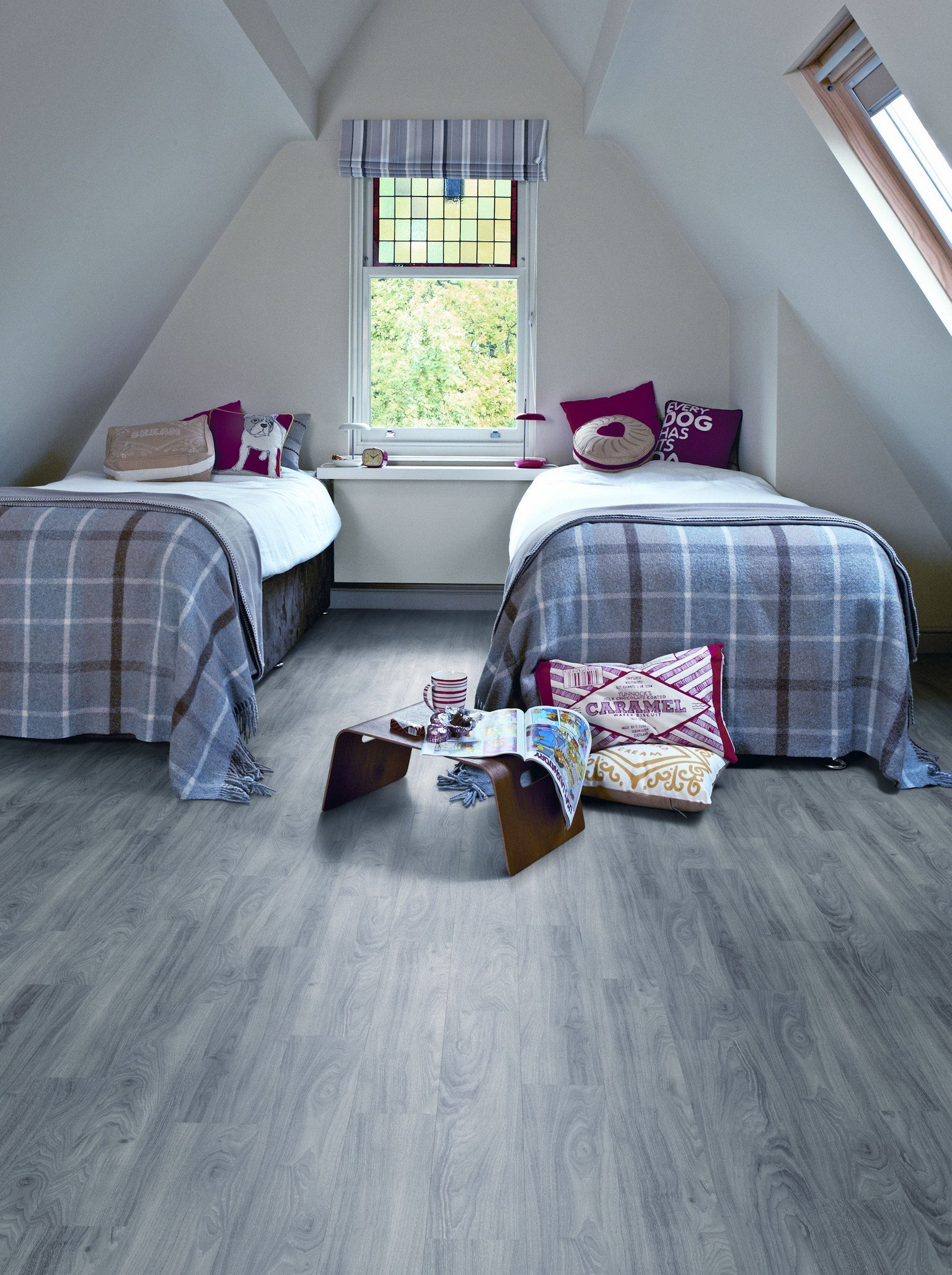 amtico flooring luxury vinyl in twin bedroom