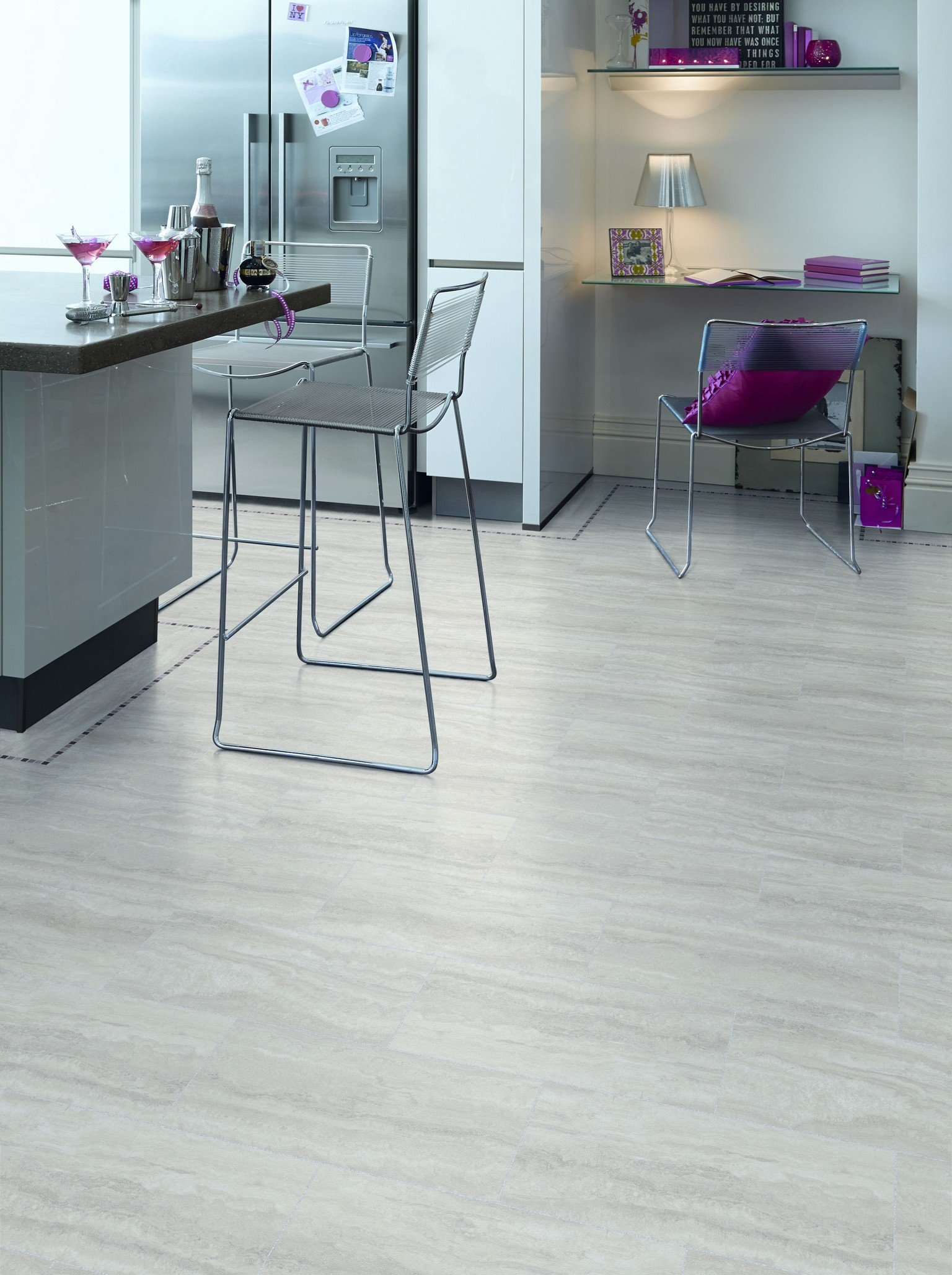 luxury vinyl amtico flooring in modern kitchen