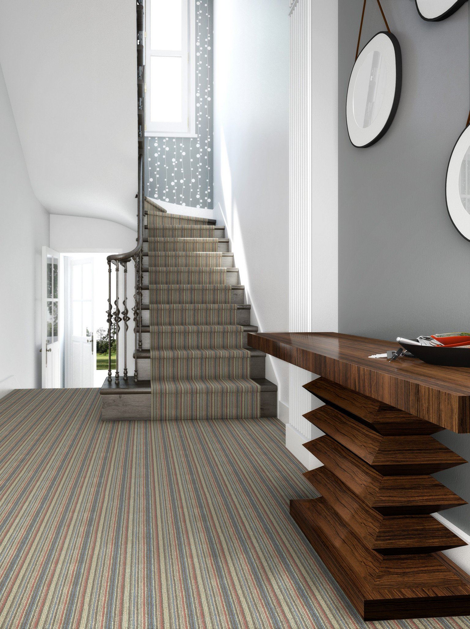 striped stair runner with grey