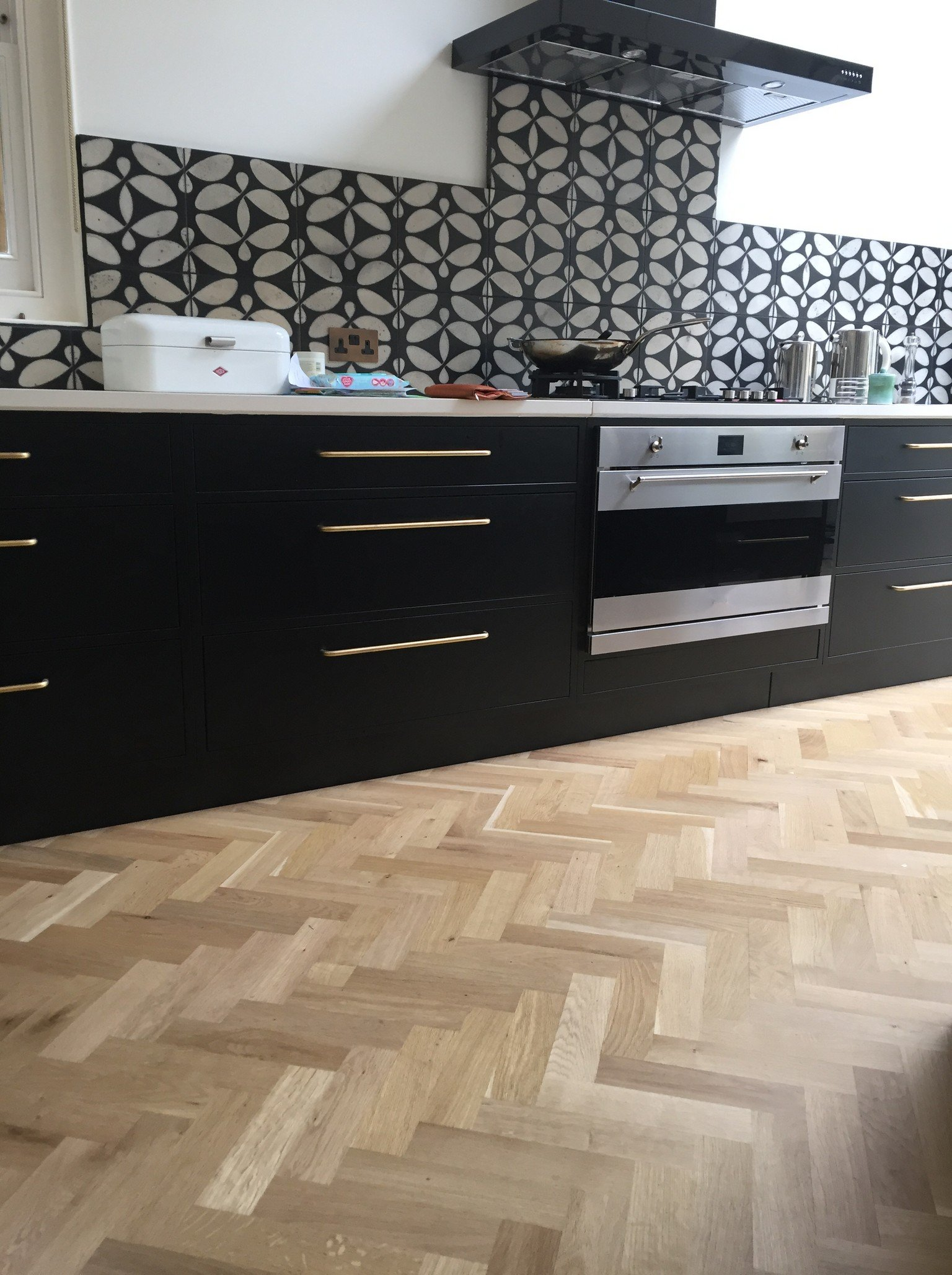 oak herring bone kitchen wood flooring