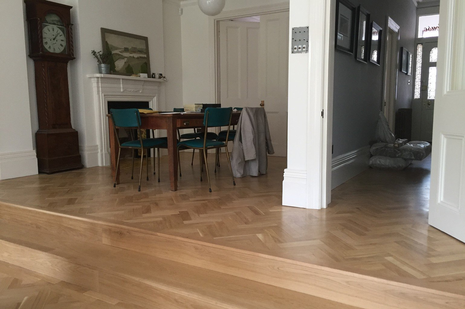 oak herringbone luxury wood flooring across ground floor
