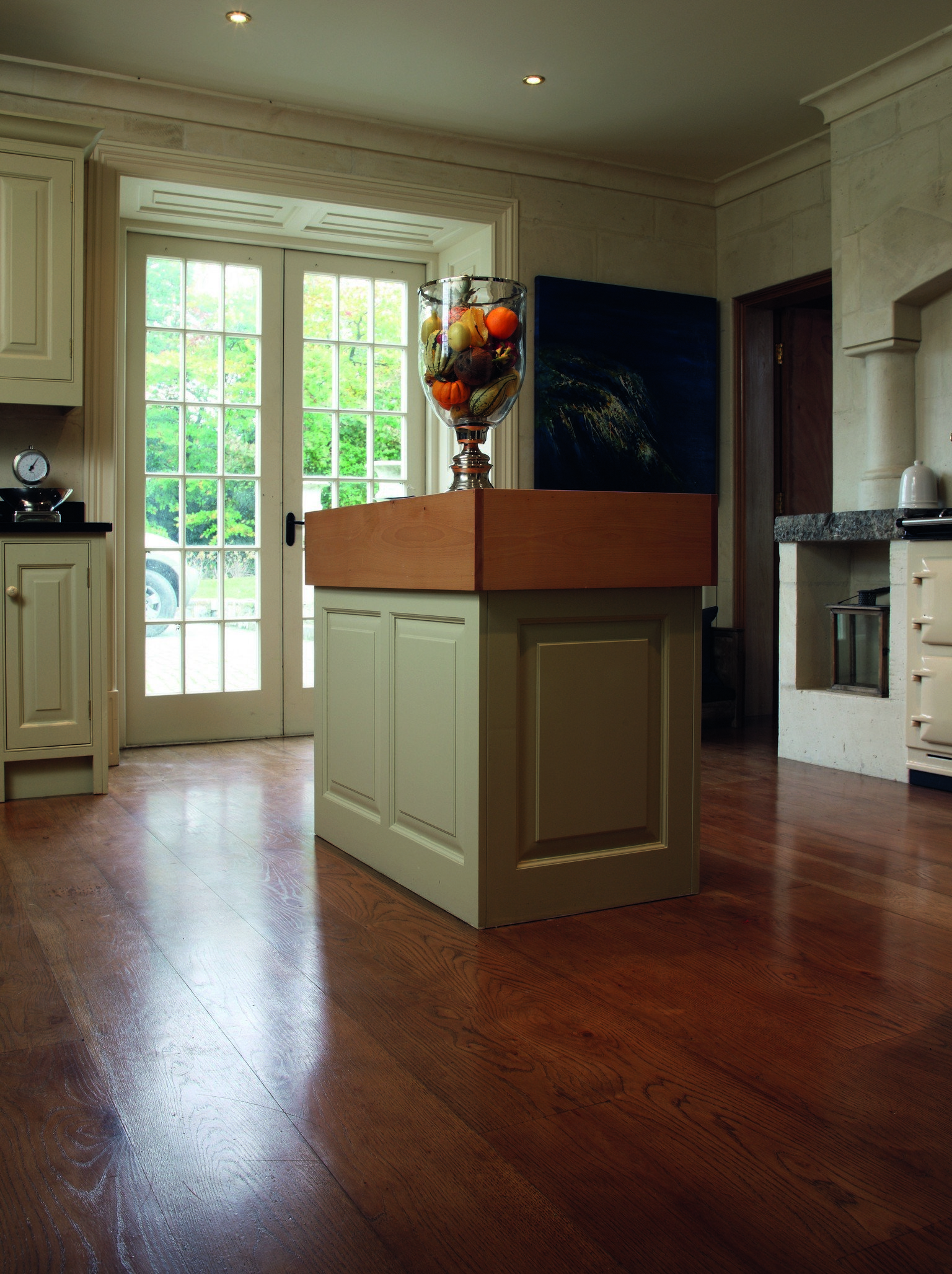 luxury wood flooring and kitchen island