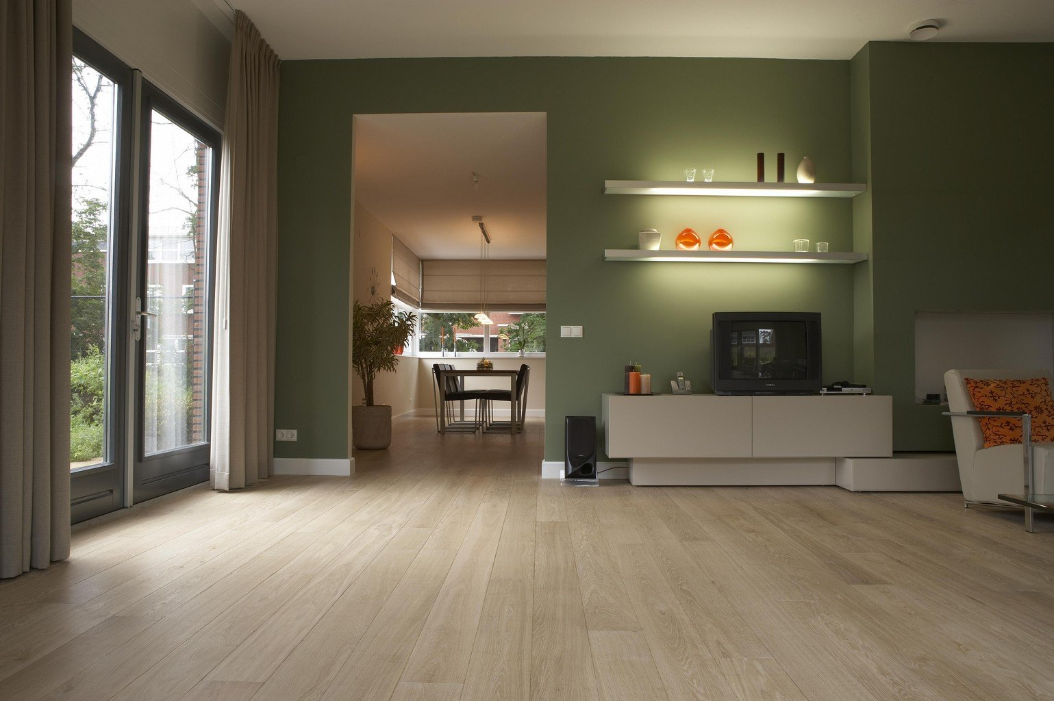 engineered oak plank in green living room