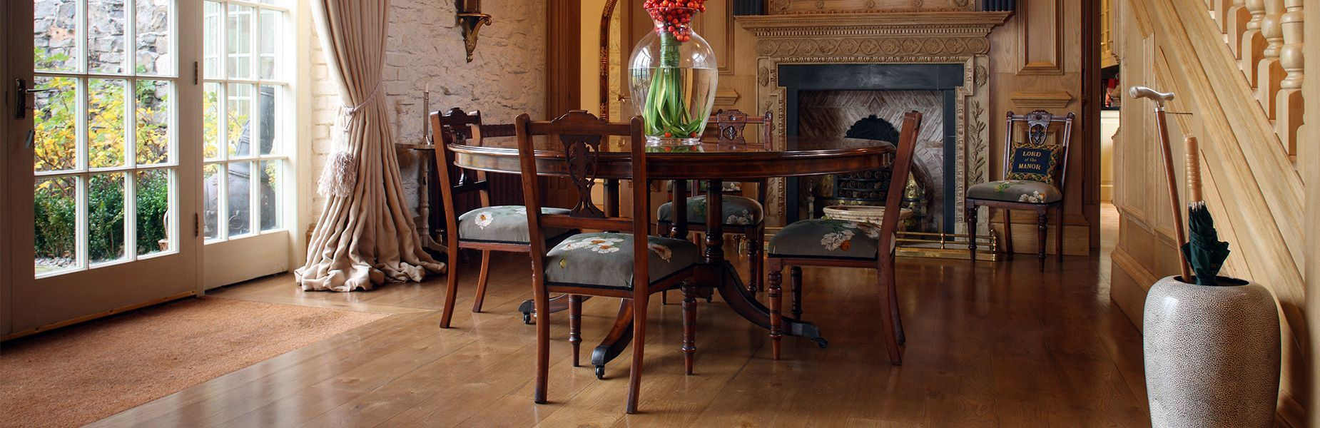 Luxury wood flooring dining room